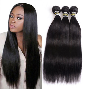Peruvian Virgin Hair Straight 3 Bundles 100% Unprocessed Peruvian Human Hair Weave Bundles Hair Extensions 3Pc Lot Natural Black