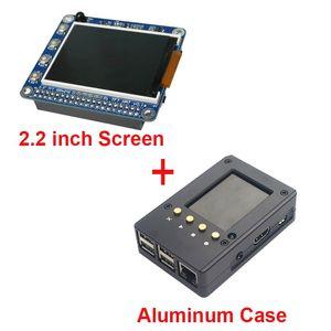 Freeshipping 2.2 polegada Raspberry Pi 3 Tela TFT LCD + Caixa De Caixa De Alumínio Preto também para Raspberry Pi 2 Modelo B