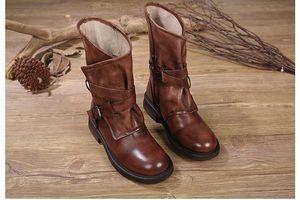 Toptan drop shipping kadınlar deri bağbozumu el yapımı deri orta buzağı çizmeler eski gladyatör strappy patik size35-40