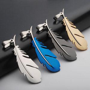Новый перо из нержавеющей стали кулон романтический перо дизайн любовника подвески fit DIY Ожерелье для мужчин женщин без цепи