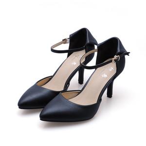 Scarpe da ginnastica concise Scarpe di pelle di pecora autentiche Colori caramelle 5,5 / 7,5cm Tacchi alti Scarpe da donna Sandali Cinturino alla caviglia con punta a punta