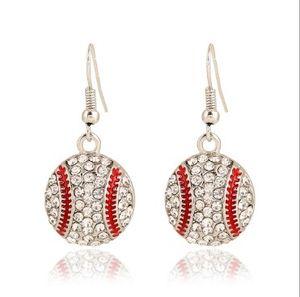 Womens Sports Hook Earrings Basketball Softball Baseball Volley Football americano strass impreziosito Orecchini pendenti orecchino