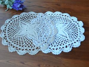 20Pcs Handmade Cotton Hollow Tischset Europa Runde Blume Tischset Crochet Doily Cup Pads Weiß Hochzeit Deckchen Crochet Coaster