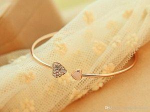Charms Charm Bracelets Femmes Fashion Style d'or strass Love Heart Bracelet Bracelet en forme de coeur bijoux bracelet d'amour coeurs double