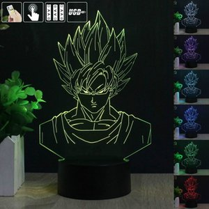 3D Dragon Ball Z Super Saiyan Fils Goku LED Veilleuse 7 Changement de Couleur Lampe De Table Colorée Télécommande