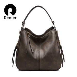 Wholesale- REALER  high quantity women shoulder bag artificial leather female handbag ladies messenger bag