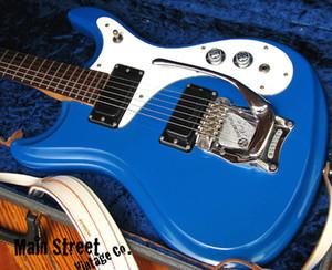 Nadir 1966 Girişimler Mosrite Modeli Mavi Elektrik Gitar Bigs Tremolo Birdge Çift P-90 Transfer Beyaz Pickguard Çok Renkler Mevcut
