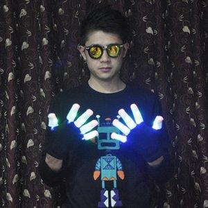 100 шт. / 50 пар новый LED черный + белый перчатки мигающие перчатки Glow LED загораются рейв перчатки Glow Light Finger перчатки партии реквизит