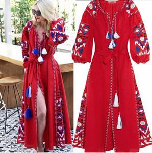 Bohemia 2019 estilo retro das mulheres bordado longo maxi dress estilo nacional do vintage hippie boho solto longo dress manga longa queda vestidos