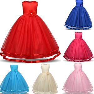 Bebé Niña de las flores Vestido del desfile Vestido de fiesta para niños Ropa de niños Niñas Vestidos largos de dama de honor Adolescentes de tul Baile de baile Vestido formal