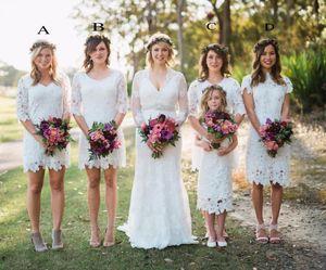 Оболочка V-образным вырезом с длинными рукавами Белое кружево длиной до колен платье для подружки невесты 2017 Платья для вечеринок в стиле кантри