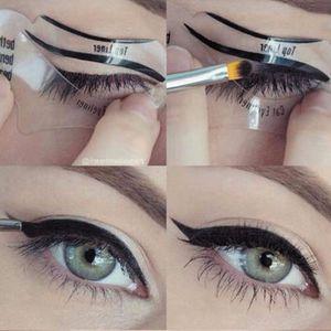 Venta caliente 110 Unids 2 Estilos Beauty Eyeliner Cat Modelos Smokey Eye Plantilla Plantilla Shaper Eyeliner Herramienta de Maquillaje