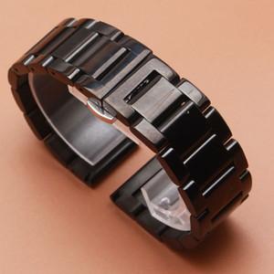 18 20 21 22 23 24 mm Negro PESADO Correa de reloj de acero inoxidable sólido Eslabones Pulseras nuevos Accesorios de moda brillantes correas de reloj pulidas