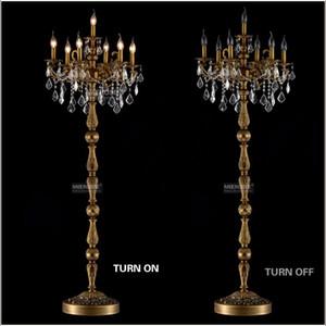 Clássico 7 Luzes de Cristal Lâmpada de Assoalho, Suporte de chão Luminária Lustre de Cristal Candelabro de Pé Lâmpada Central