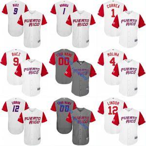 2017 푸에르토 리코 월드 야구 클래식 WBC 저지 1 Carlos Correa 4 Yadier Molina 9 Javier Baez 15 Carlos Beltr 12 Flindor Baseball Jerseys