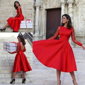 Vintage 2017 Sheer Long Sleeves Red Homecoming Dresses Jewel Neck Backless Tea Length Sweet 16 Party Graduation Plus Size Abiti da cocktail