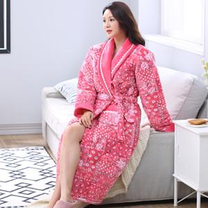 Wholesale-  Winter Warm Nightgown Bath Robe Women Robe Female Floral Bathrobe Quilted Pajamas Mujer Thick Spa Robe Shower Sleepwear