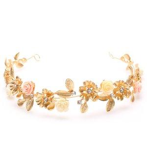 [MarteJoven] New Coming Noiva Cocar Retro Jóias Cabelo Folha De Ouro Strass Flor Coroa Mulheres Acessórios Do Casamento