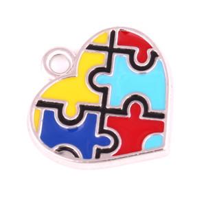 여성 남성 하트 목걸이 펜던트 직소 퍼즐 패턴 우울증 스타일 아름다운 에나멜 아연 합금 Dropshipping를 들어 보석