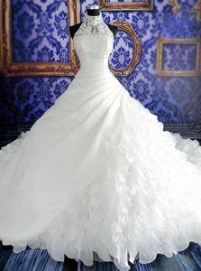 Платье бального платья Холтер шеи Высокой свадебное платье с аппликациями Pearls Ватто Поезд многоуровневых оборками из органзы кружева аппликации бисер свадебного платья Настраиваемого