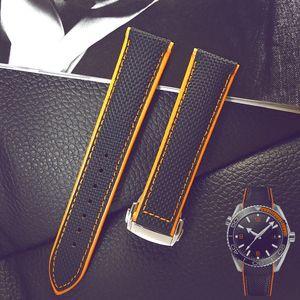 Correa de Nylon Correa de reloj de cuero genuino para Omega Planet Ocean 20 mm 22 mm Hombre correa de cuero de becerro negro naranja rojo azul con herramientas