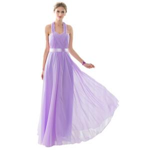 Sweetheart Halter Cheap bridesmaid dresses robe de soiree 2017 Draped Chiffon Prom Wedding Gust Dresses Chiffon bridesmaid dress Long