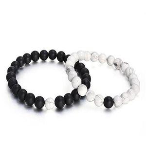 Mens 8mm Perles Bracelet Pierre Naturelle Pierre De Lave Bracelet Bracelet Noir Blanc Agate Mat pour Les Couples Son Et Le Cadeau