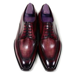 Homens Sapatos de vestido Sapatos Oxfords Sapatos personalizados feitos à mão Dedo do pé quadrado Derby Couro genuíno de bezerro Cor Pátio Castanho Vermelho HD-N183