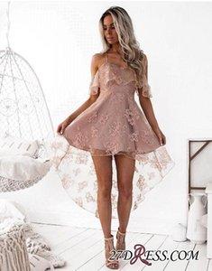 Dusty Pink Sexy Коротких Lace Cocktail Dresses бретельки Привет-Л платье Новой моды Homecoming платье партии
