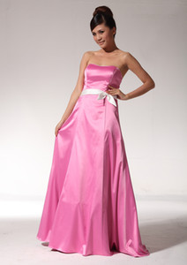 A-Line Strapless Neckline Empire Sash Pink Floor Length Elastic Satin Formal Evening Dress Bridesmaid Prom Gowns