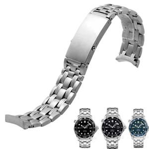 Cinturino in acciaio inossidabile massiccio 20mm 22mm Cinturino in argento per cinturino da uomo Omega 300 007 Cinturino + Strumenti gratuiti