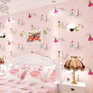3d Cute cartoon girl princess room children wallpaper warm bedroom pink nonwovens full floor wallpaper