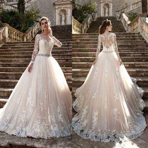 Ошибка экипажа шеи сексуальное увидеть сквозь кнопку с длинными рукавами Аппликации новые винтажные дешевые кружева свадебные платья Vestios de novia bridal платье
