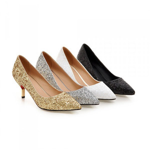 Spring Pointed Toe Women Shoes Comfortable Middle Heel Gold Glitter Sequined Cloth Wedding Party Shoes Bridal Pumps Plus Size