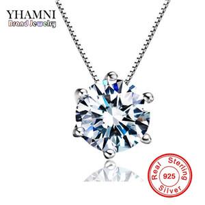 YHAMNI Alta Qualidade 1.5 ct Único Claro CZ Diamante 925 Sterling Silver Jewelry Nupcial Noivado de Prata Pingente de Colar R126