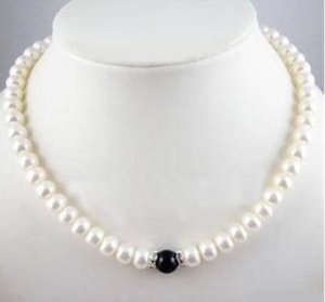 Charming 7-8mm Natural White Pearl + Black 마노 목걸이 18inch 925 Silver Clasp