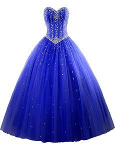 Yeni Zarif Fuşya Abiye Mavi Tül Quinceanera Elbiseler 2018 Boncuk Kristaller Lace Up Tatlı 16 Elbiseler Ile 15 Yıl Balo Abiye QS1034