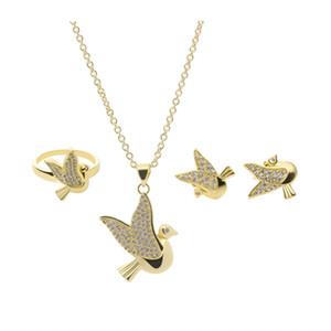 New Charming Jewelry Set 18K oro giallo placcato Clear CZ Little Bird Orecchini collana anello gioielli Set per ragazze Donne bel regalo