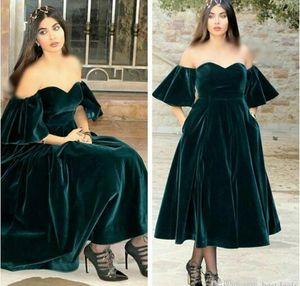 Новый дизайн темно-зеленые коктейльные платья 2017 милая бархатные платья выпускного вечера короткие рукава Vestido де феста кафтан вечерние платья