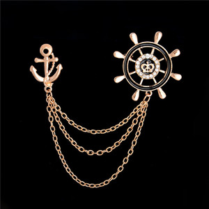 Wholesale- New Gold Anchor Brooch Pin For Women Lapel Pin Rhinestone Collar Brooches 1 Piece Vintage Retro Mens Banquet Suits Pins Broche