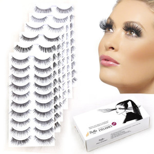 Bella Hair False Eyelashes Extension 6 faux cils de style différent - 60 paires de cils réutilisables dramatiques naturels en vrac
