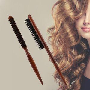 Pro Salon Saç Fırçası Ahşap Saplı Kabarık Kıl Tarak Çanak Kuaförlük Saç Berber Derisi Masaj Saç Şekillendirici Aracı