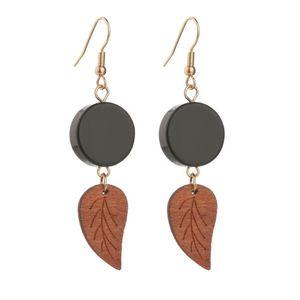 Nuevo clásico de madera negro redondo acrílico hoja geométrica de alta calidad pendientes de gota de madera para las mujeres accesorios