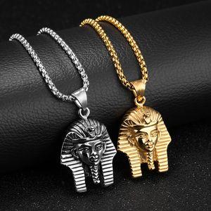 Homens Retro Vintage colares faraó egípcio Pingentes Cadeia Colar de aço inoxidável do partido do disfarce jóias presente de aniversário para o noivo