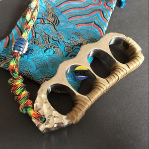 Fatti a mano in titanio grigliato blu EDC Outdoor difesa Knuckles Guardiano di sopravvivenza dito rotto strumenti finestra