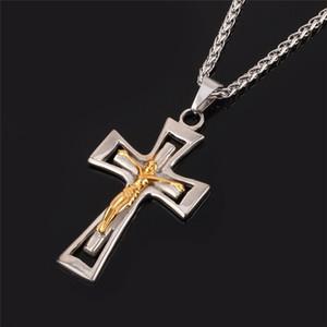 Çapraz Kolye Kolye Kadın Erkek Hıristiyan Takı Hediye Moda Altın Renk Haç İsa Adet 316l Paslanmaz Çelik Toptan