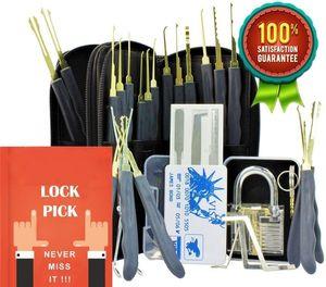 Aracı Seti çilingir Uygulama Kilidi Şeffaf Asma Kilit Kredi Kartı Lock ile Aracı Set Seçim Picking 24 Parça GOSO Kilit Set Seçim
