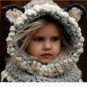 La migliore vendita calda coreana inverno collo caldo avvolgere sciarpe di volpe Cappelli svegli bambini lana cappelli lavorati a maglia scialli delle neonate con cappuccio cappuccio beanie