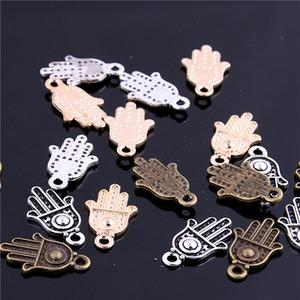Doux Bell Min ordre 80pcs Pendentifs Charme Hamsa Main / Palm Trois couleurs 12 * 20mm en gros Fabrication De Bijoux Charms D6113-1