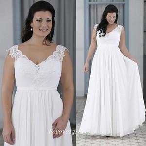 Country Style White Chiffon Long Wedding Dress High Quality A Line V Neck Women Wear Bridal Gown Plus Size
